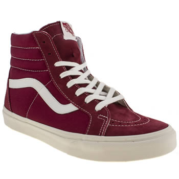 mens vans red sk8-hi reissue trainers