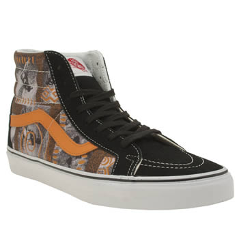 Vans Black & Orange Sk8-hi Hoffman Reissue Print Trainers