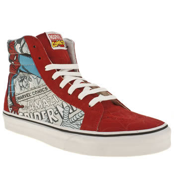 mens vans red sk8 hi marvel spider-man trainers