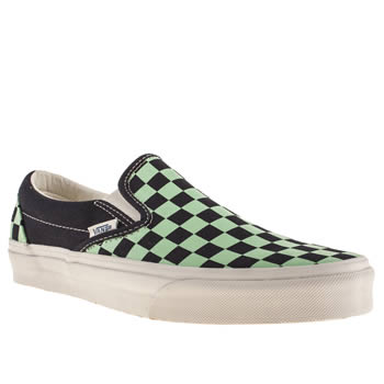 mens vans navy & green classic slip on trainers