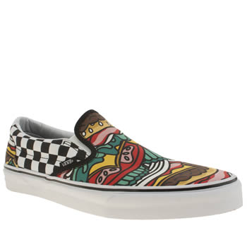 mens vans multi classic slip on the beatles trainers