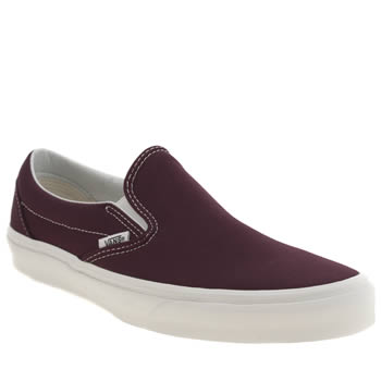 Mens Vans Burgundy Classic Slip-on Vintage Trainers