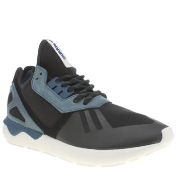 Mens Adidas Black and blue Tubular Runner Trainers