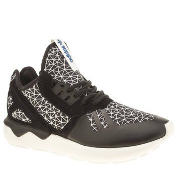 Mens Adidas Black & White Tubular Runner Trainers