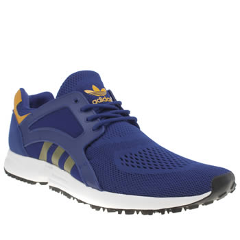 Mens Adidas Blue & Yellow Racer Lite Em Trainers