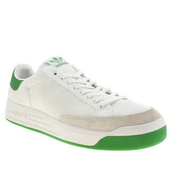 mens adidas white & green rod laver trainers