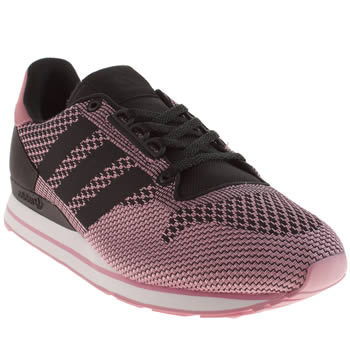 mens adidas black & pink zx 500 weave trainers