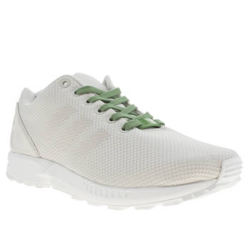 mens adidas white zx flux 8k weave trainers