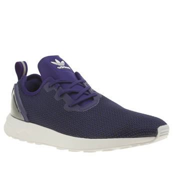 Mens Adidas Purple Zx Flux Racer Asymmetrical Trainers
