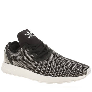 Mens Adidas Black & White Zx Flux Racer Asymmetrical Trainers