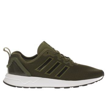 Adidas Khaki Zx Flux Racer Trainers