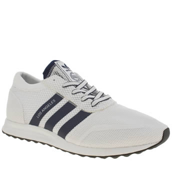 Mens Adidas White & Navy Los Angeles Trainers