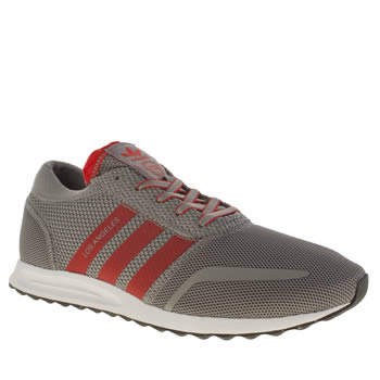 Adidas Silver & Red Los Angeles Trainers