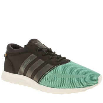 Mens Adidas Black & Green Los Angeles Trainers