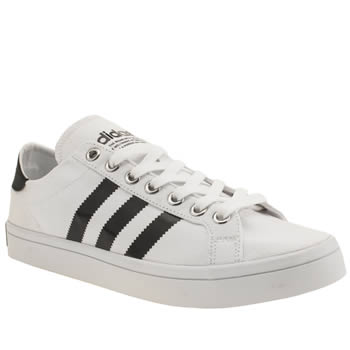 Mens Adidas White & Black Court Vantage Trainers