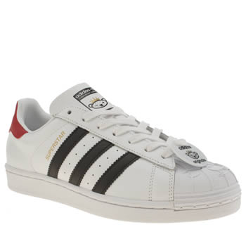 Mens Adidas White & Black Superstar Nigo Bear Trainers