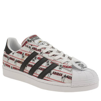 Mens Adidas White & Red Superstar Nigo Bear Trainers