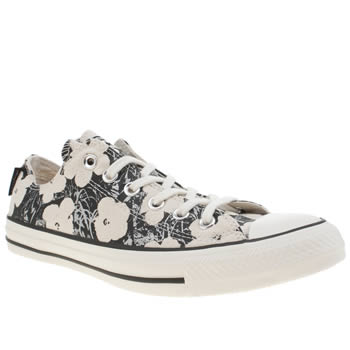 Mens Converse Stone & Black All Star Andy Warhol Floral Ox Trainers