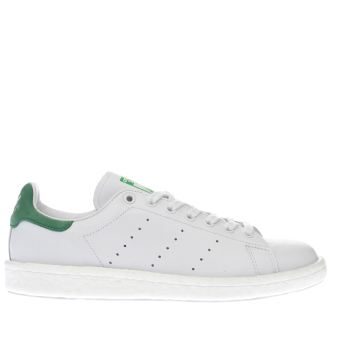 ADIDAS WHITE & GREEN STAN SMITH BOOST TRAINERS