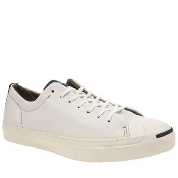 Converse White & Navy Jack Purcell Leather Trainers