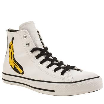 Mens White Amp Yellow Converse Andy Warhol Banana Trainers