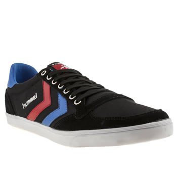 mens hummel black and blue slimmer stadil low trainers