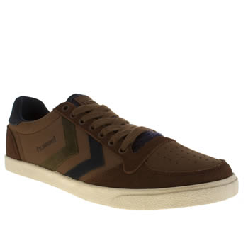 Mens Hummel Brown Slimmer Stadil Mix Low Trainers