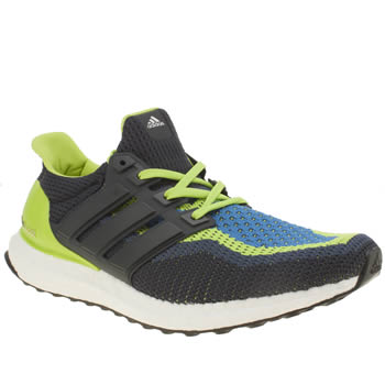 Mens Adidas Navy & Lime Ultra Boost Trainers