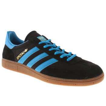 mens adidas black and blue spezial trainers