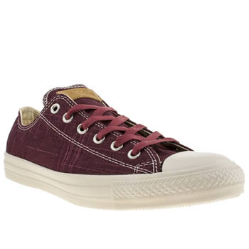 mens converse burgundy slub yarn ox trainers