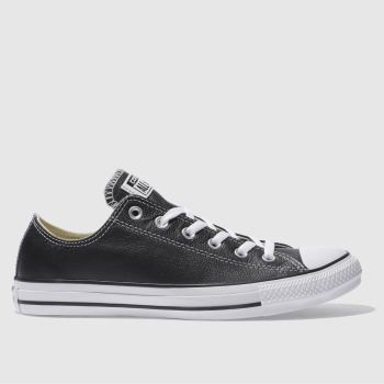 Mens Converse Black All Star Leather Ox Trainers