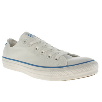 mens converse white & pl blue all star lo trainers