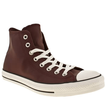 mens converse burgundy all star hi leather trainers