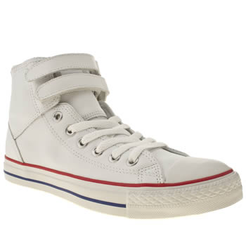 mens converse white & red all star 2 strap hi trainers