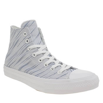 Mens Converse White & Blue Chuck Taylor Ii Knit Hi Trainers