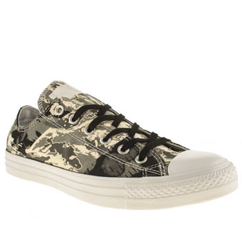 mens converse black & grey camo tri-panel ox trainers