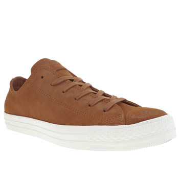 Mens Converse Tan Burnished Suede Oxford Trainers