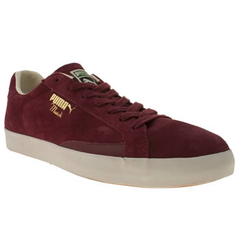 mens puma burgundy tennis match vulc trainers