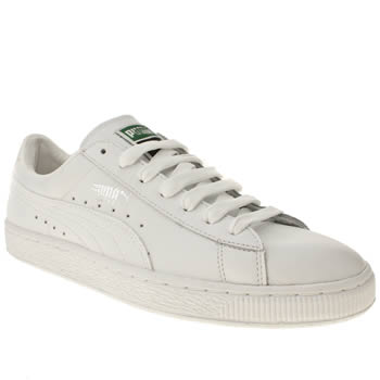 mens puma white & silver basket classic trainers