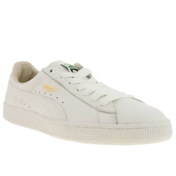 mens puma white & gold basket classic trainers