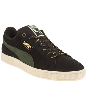 Puma Black & Green Suede Classic Winterized Trainers