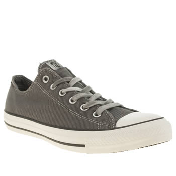 Mens Converse Grey & Black All Star Ox Black Overdye Wash Trainers