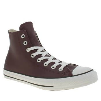 Converse Burgundy Chuck Taylor Hi Leather Trainers