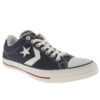 mens converse navy & red star player ev trainers