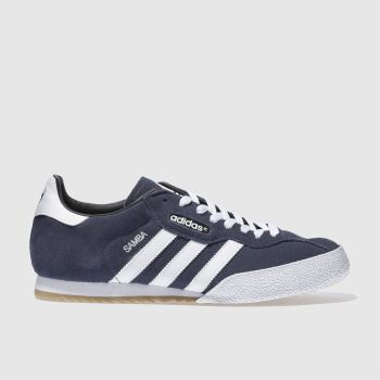 Mens Adidas Navy & White Samba Super Suede Trainers