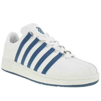 Mens K-Swiss White & Blue Classic Vn Trainers