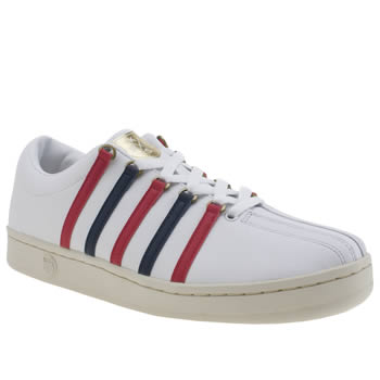 K-Swiss White & Red Classic 88 Aged Trainers