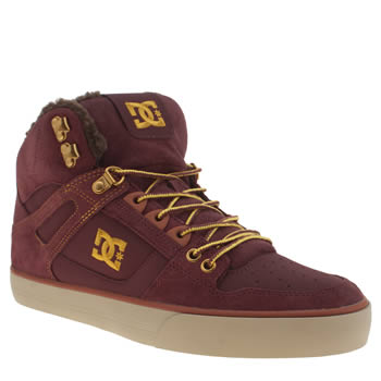 Mens Dc Shoes Burgundy Spartan Hi Wc Trainers
