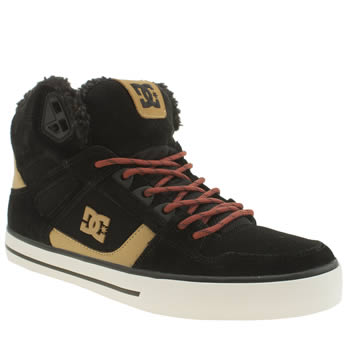 Dc Shoes Black & Gold Spartan Hi Winterise Shearling Trainers