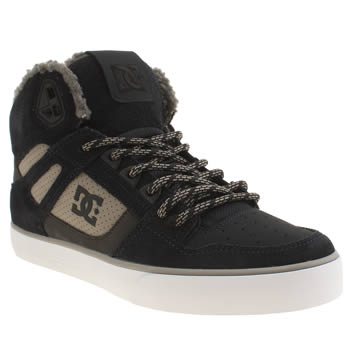 Mens Dc Shoes Navy & Grey Spartan Hi Winterise Shearling Trainers